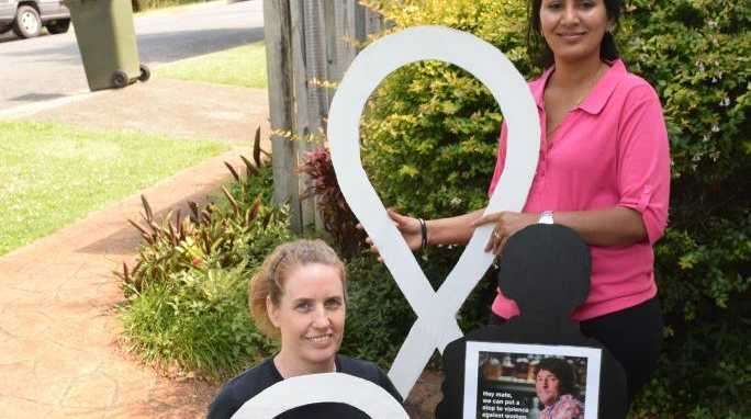 STAND UP: White Ribbon Day campaigners Michelle Thomas and Swathi Totha.