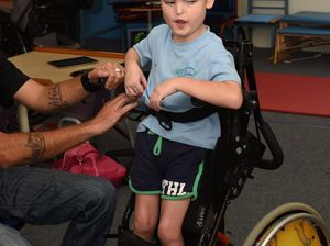 Aedan, 7, stands tall with help of wheelchair
