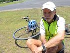 DOG ATTACK: Keen cyclist Tony Wolfe was attacked by two dogs while he rode his bike. Although he sustained serious lacerations requiring stitches he doesn't want any action taken against the dogs or the owner, all he wants is his message to get out, to keep your animals secured so they don't attack people. Photo: Max Fleet / NewsMail