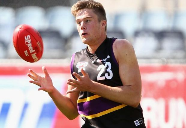 Josh Schache takes a mark during the TAC Cup Semi Final match between the Murray Bushrangers and the Oakleigh Chargers at Ikon Park in Melbourne. Photo: Robert Prezioso/AFL Media/Getty Images