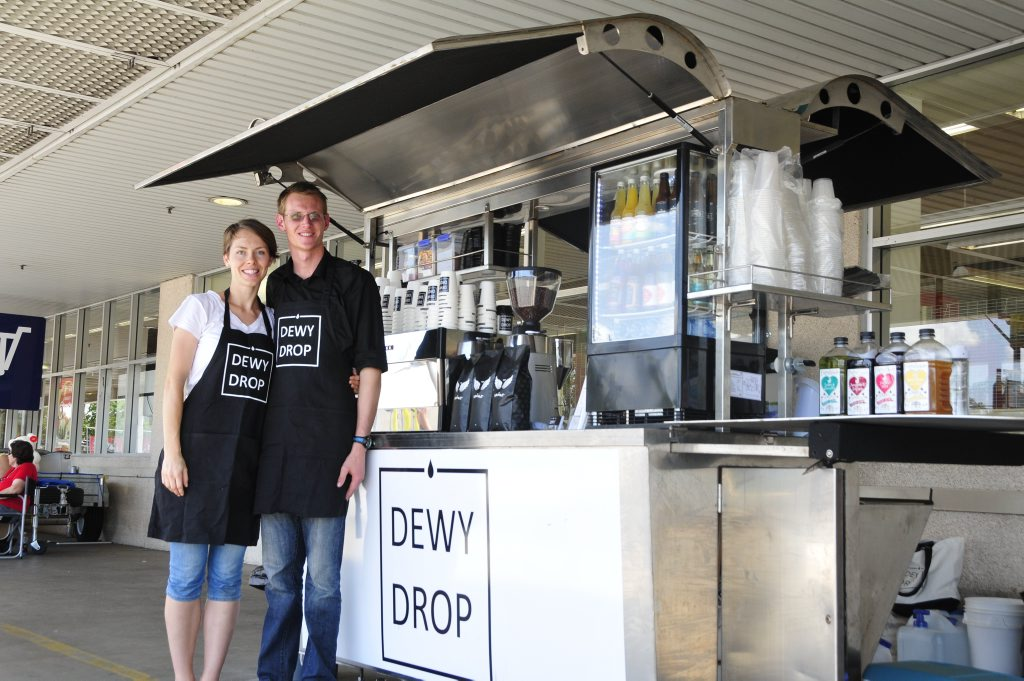 Pene and Harry Dewhirst opened their coffee shop at Stocklands Gladstone on Monday. Photo Campbell Gellie / The Observer