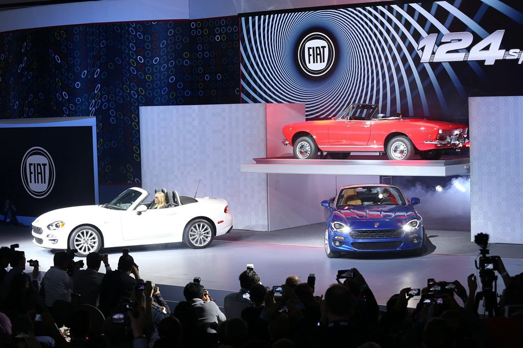 Fiat 124 Spiders - old and new - at the 2015 Los Angeles Auto Show. Photo: Contributed