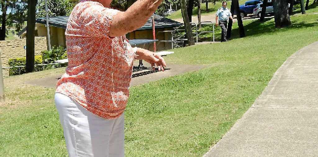 GOOD AIM: Jan Treasure plays hookey at the Gympie National Seniors games morning at Lake Alford.