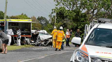 CRASH SCENE: Crash between two cars on the Bruxner Highway near the intersection with McInnes Road.