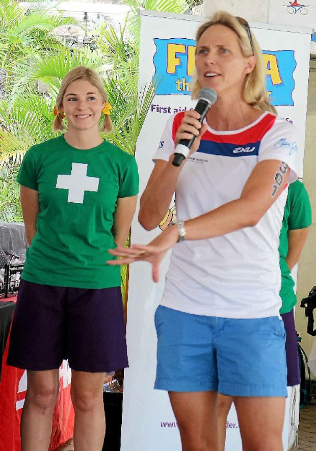 BOOK LAUNCH: Olympian Susie O'Neill speaks on Hamilton Island at the launch of Freya the First Aider on Saturday.