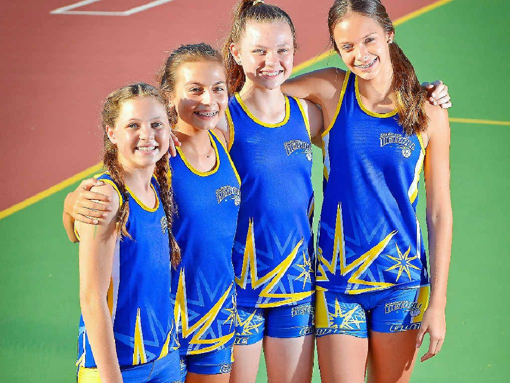 SQUAD DREAM: Gladstone netballers Imogen Collins, Samarah Belton, Keeley Dillon and Abbi Cooper, all 13, were accepted in to next year's regional development squad.
