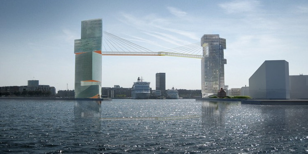 The bridge won the competition to connect both sides of the harbours. Photo / Steven Holl Architects