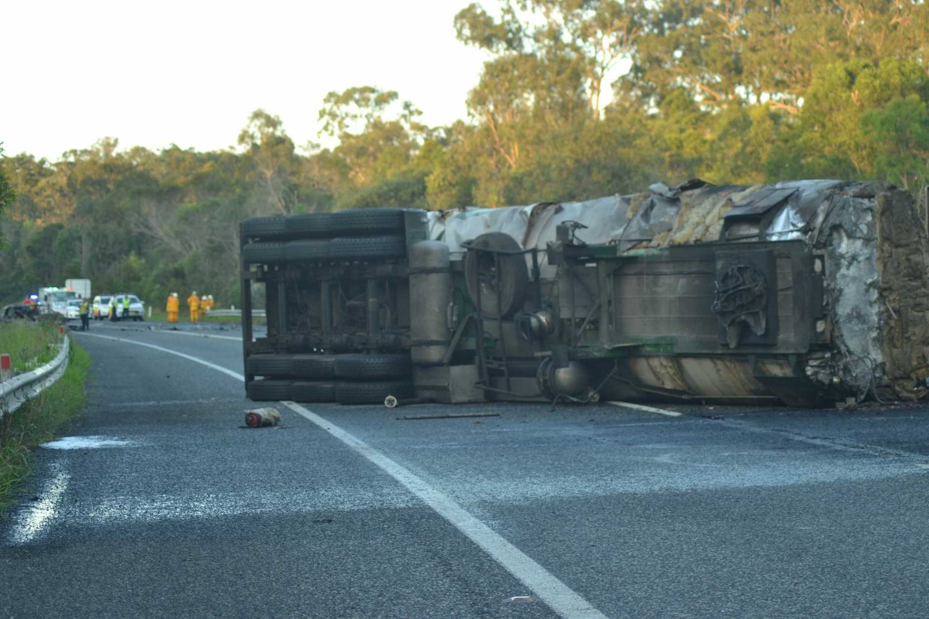 HEAD ON: A collision between a petrol tanker and sedan saw one person killed and the Pacific Highway, just south of Woodburn closed.