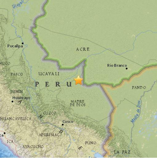 The epicentre of the Peru quake.