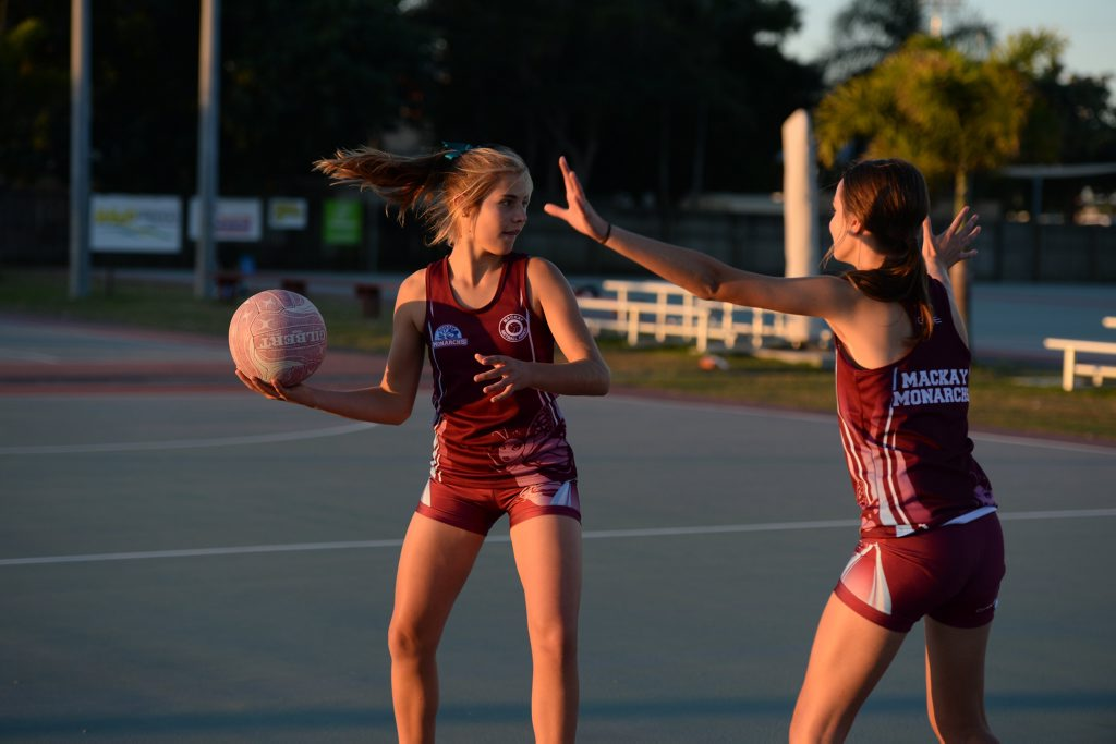Molli Johnson looks for an opening as she's defended by Nina Gaviglio during training for the Mackay U13s State team.