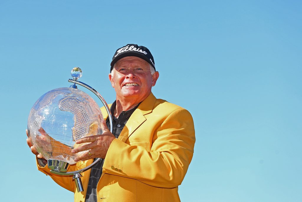 Peter Senior of Australia poses with the trophy during the final round of the 2015 Australian Masters at Huntingdale Golf Club on November 22, 2015 in Melbourne, Australia. (Photo by Quinn Rooney/Getty Images)