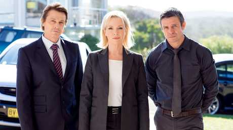 Peter O'Brien, left, Rebecca Gibney and Matt Nable in a scene from the TV series Winter.