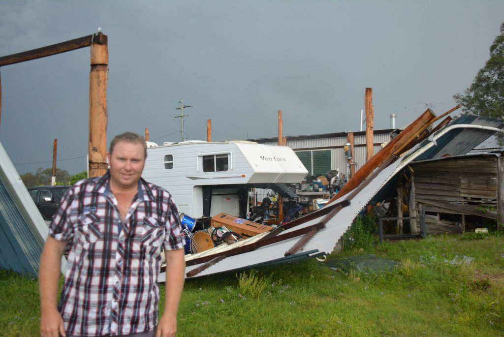 Ace Bleney's shed roof ripped off while he was inside.