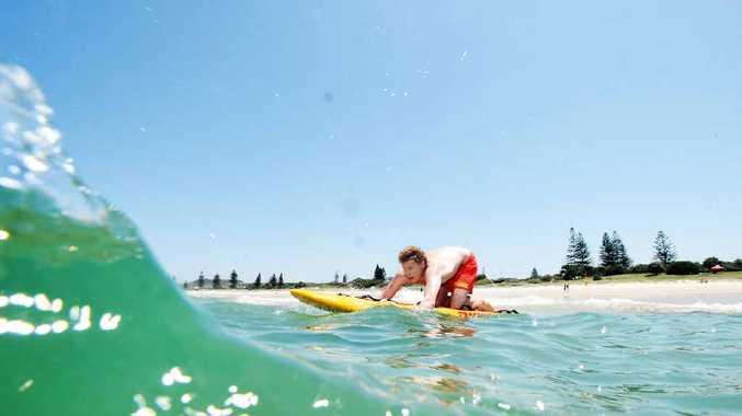Lifeguard Hayden Thomas at Lennox Head's Seven Mile Beach.