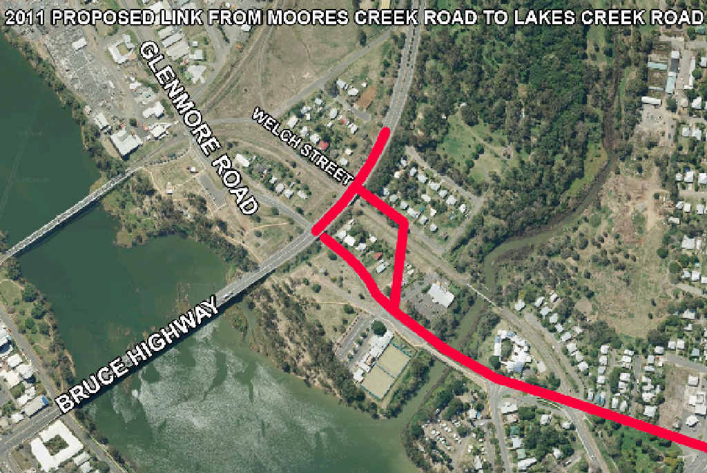 ON THE MAP: A connection between Lakes Creek Rd and the Neville Hewitt Bridge is a proposed solution to cattle trucks in the CBD.