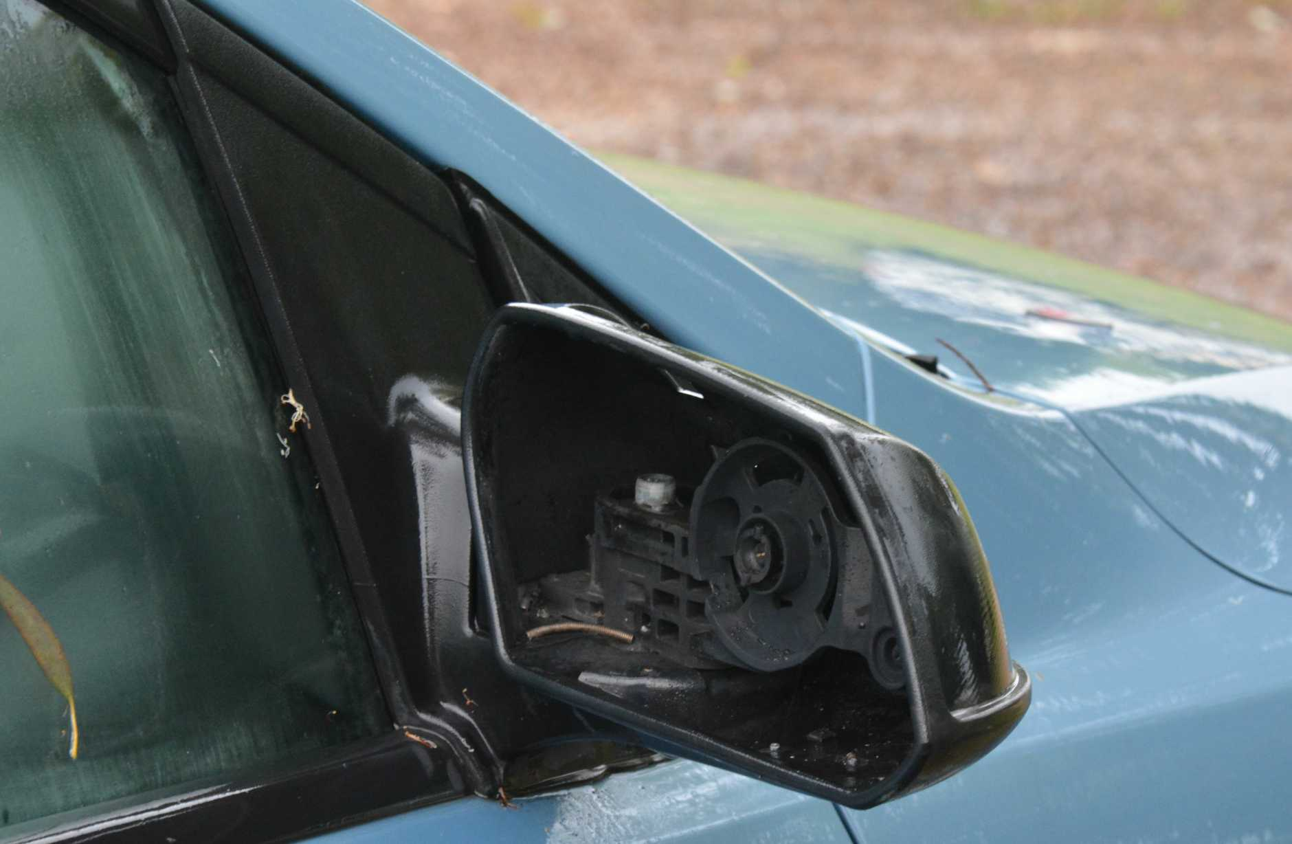 Lightning destroyed a side mirror parked behind the South Burnett Times office.