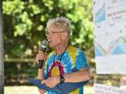 Climate rally - organizer Rod Dudgeon addresses the crowd at Neilsen's Park, Torquay after the march from Ernie Organ Park. Photo: Alistair Brightman / Fraser Coast Chronicle