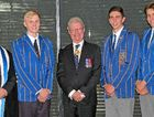 AWARDS CEREMONY: Celebrating Toowoomba Grammar School students' achievements are (from left) headmaster Peter Hauser, 2015 dux Pierce Leahy, Queensland Governor Paul de Jersey, Co-Proxime Accessit and Belford Prize for Scholarship, Leadership, Sport and Activities, Riley de Jong and Co-Proxime Accessit of Year 12, Oliver Lilford.