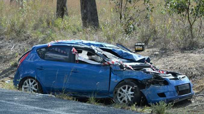 A car on the side of Emu Park road near the Coorooman Creek road turn-off which was involved in an accident. Photo: Chris Ison / The Morning Bulletin