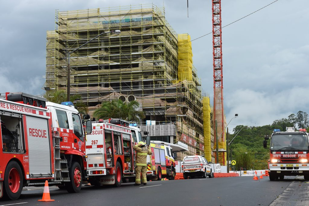 Emergency services at the Lismore Base Hospital where scaffolding collapsed during a storm. Photo Marc Stapelberg / The Northern Star