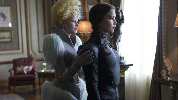 Elizabeth Banks and Jennifer Lawrence in a scene from the movie The Hunger Games: Mockingjay - Part 2. Supplied by Roadshow Films.