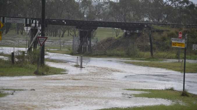 Water at the railway overbridge at the southern end of Glengallan Rd. Photo Gerard Walsh / Warwick Daily News