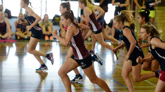 netball players try out at the Claws netball trials held on the weekend. Photo: Chris Ison / The Morning Bulletin