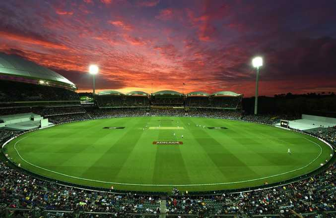 The Adelaide Oval is lit up for the historic day-night Test. Photo: AAP Image.