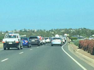 Traffic backed up heading into Kin Kora intersection