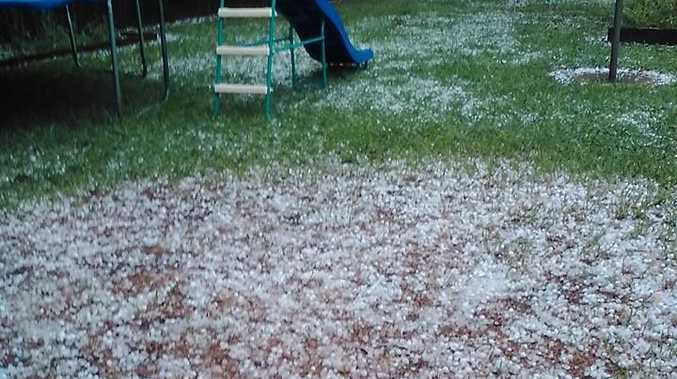 Alison Renyard‎ posted this photo to the Higgins Storm Chasing Facebook page of hail in Kingaroy.