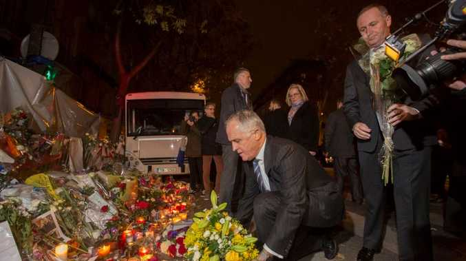 Prime Minister Malcolm Turnbull in Paris, at the Bataclan theatre