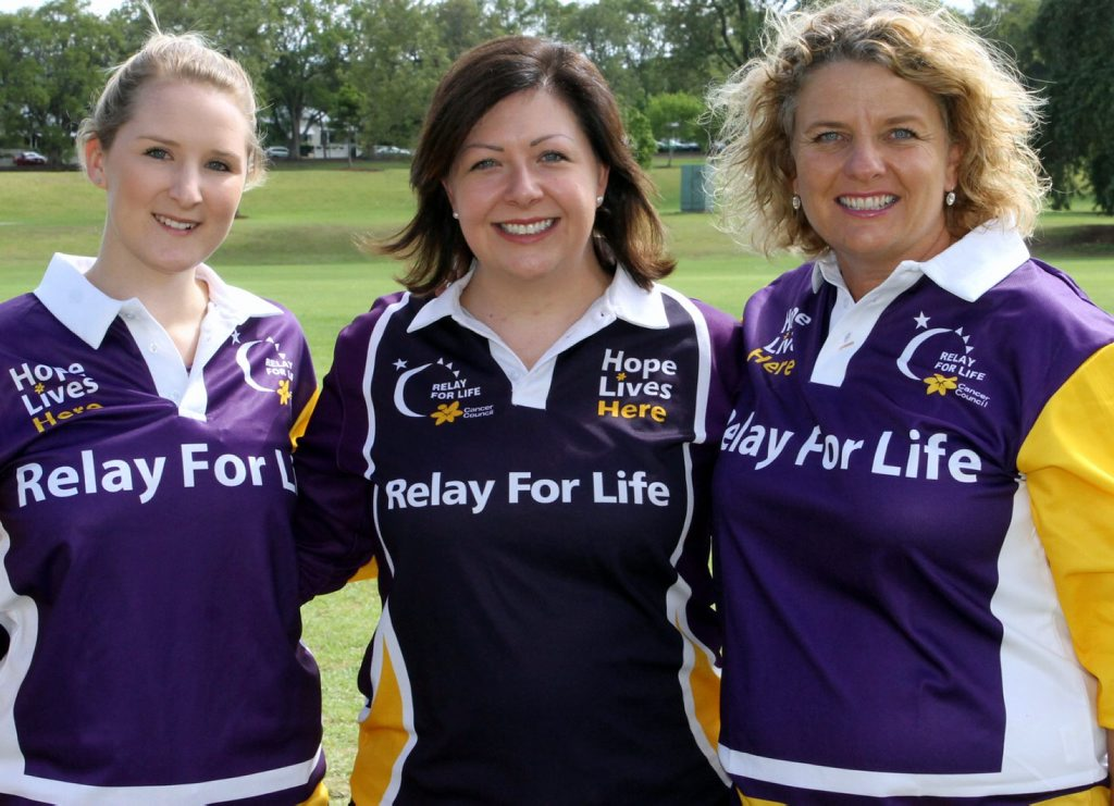 Toowoomba Relay For Life Committee Chair and recipient of the prestigious CancerFREE Challenge Award Cassie O'Dea (middle) with CCQ Relay For Life Coordinators Jillian Huth (left) and Jo Capp.
