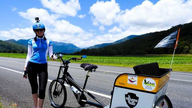 Crystal Davis is riding a rickshaw from Port Douglas to the Sunshine Coast to raise funds for suicide prevention. Photo contributed.