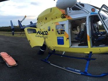 RESCUE: A 20-year-old man has been airlifted from Fraser Island after hitting his head while swimming. photo Courtesty of RACQ Careflight