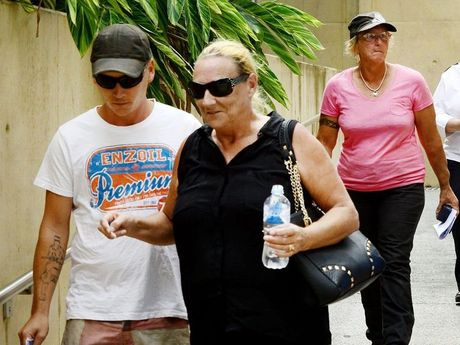 Churchable greyhound racing identities Matthew Lewis, 25, (white shirt) and Jenny Viles (rear pink), 48, leaving Ipswich Courthouse in December.