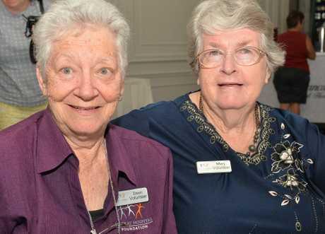 Dawn Meier and Marj Bundensen at the Mackay Base Hospital volunteers.