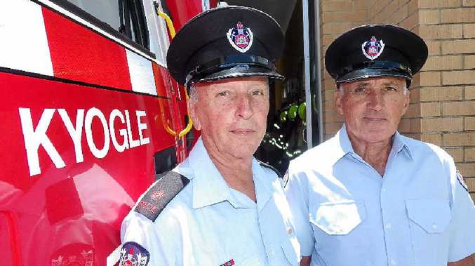 Kyogle firefighters Deputy Robert Felton and retained fireman Barry Reeves.