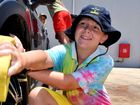 WORKIN' AT THE CAR WASH: Roma Scout Connor Turnbull was hard at work scrubbing tyres at the Roma Scouts car wash on Saturday morning.