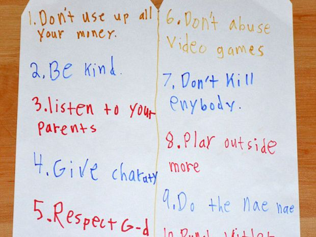 The 11-year-old has 'updated' what thou shalt do and not do. Photo / ucfjag, Reddit