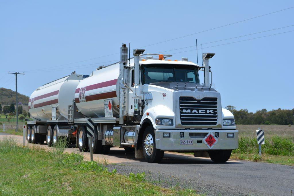 Glenmar Fuels truck crossing culvert near the Allora depot.