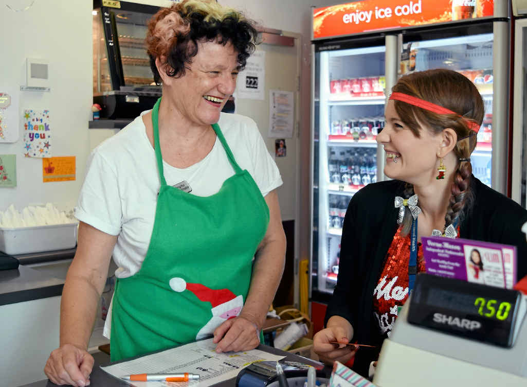 GOOD TIMES: Mackay Hospital Foundation volunteers Brigitte Zimmermann and Emma Wild enjoy one of their final shifts at the cafe before it closes tomorrow.