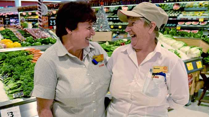 """IN STORE CHANGE: Debra Taylor and Denise Auguston have celebrated to $10 million dollar upgrade of the Coles supermarket on Sydney St, with their wonderful """"friendly"""" team. Nine long-serving team members also celebrates a milestone service anniversary this year, who combined have 250-years of experience at Coles."""