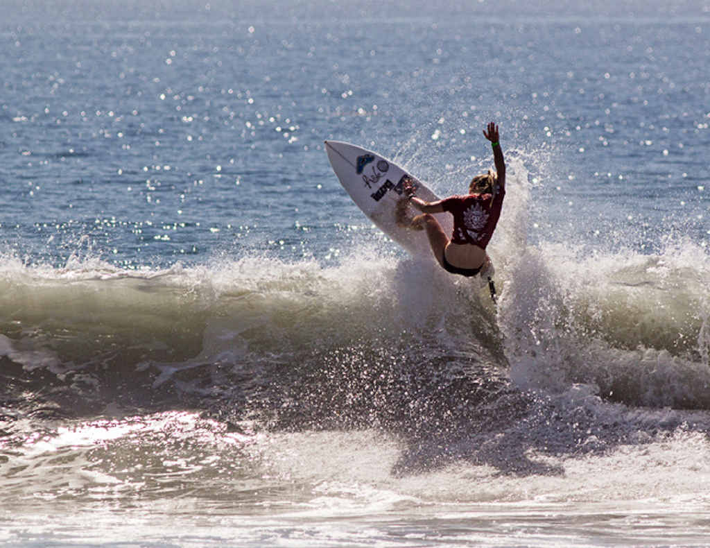 TALENTED: Sophie McCulloch competes in California at the ISA World Junior Surfing Championships in October.
