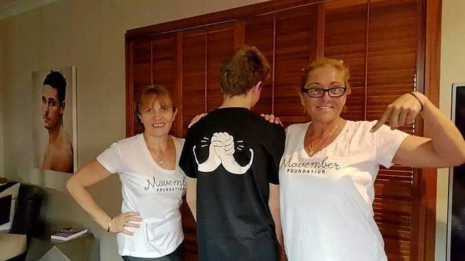 Jodie McNaughton, her son Ethan Ryan and her mother Penny McNaughton proudly wearing their Movember shirts in honour of Rhys.