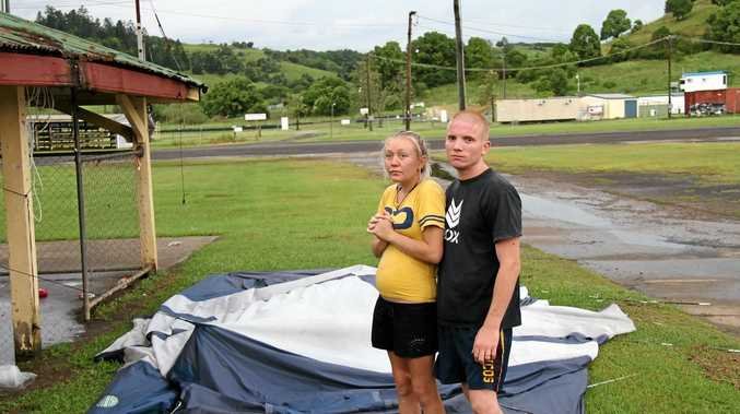 RESCUED: Nathan Johnson and his pregnant partner Corey-Lee were flattened by the recent supercell storm but have found a place to live thanks to the kindness of others.