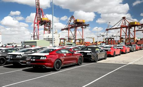 The first Ford Mustang customer cars landed in the country today, arriving at Melbourne's Appleton Dock.