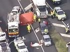 Tuesday's accident came a horror day on south-east Queensland roads, with two people dying in this crash on Monday morning. Photo: 7 News Queensland