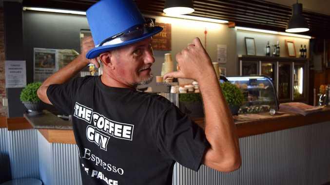 Coffee guy Brad Hoy at Palace Hotel Photo Louise Starkey / Daily Mercury
