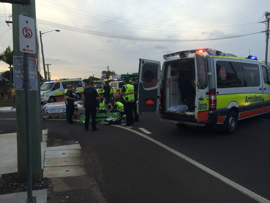 CRASH: Emergency crews at the scene of a serious traffic crash on Perry St, North Bundaberg. Photo Mike Knott / NewsMail