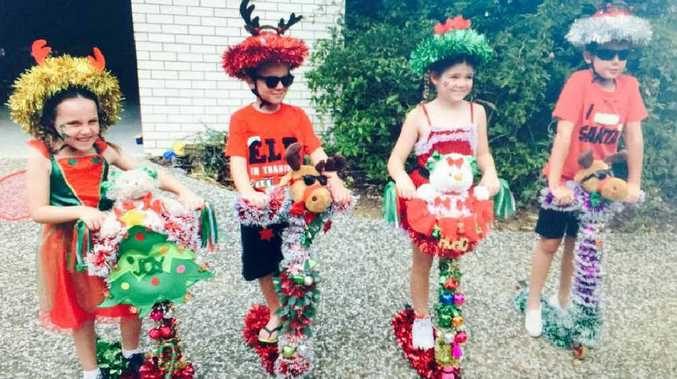 CHRISTMAS KIDS: Riley Bust, Cassia Bust, Gracie Mann and Kyan Mann dress up for a previous Lex Semple Christmas parade.
